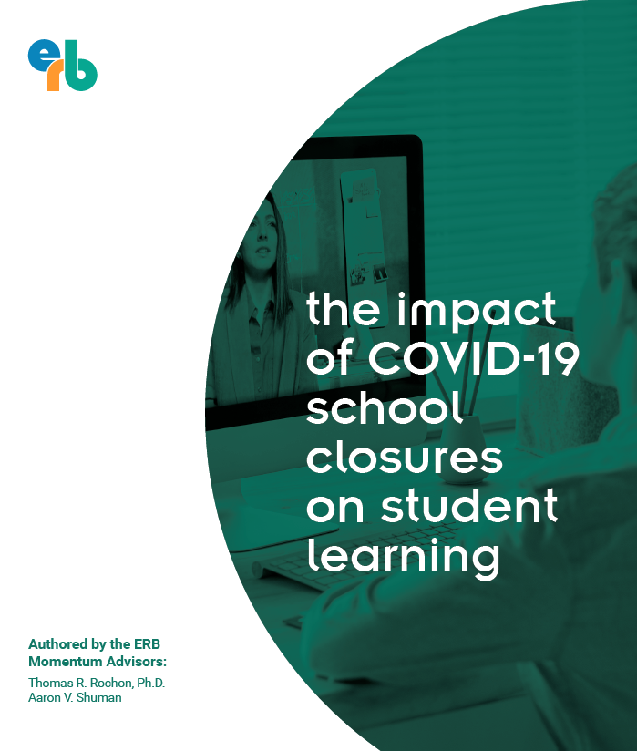 Cover of erb white paper titled the impact of covid19 school closures on student learning